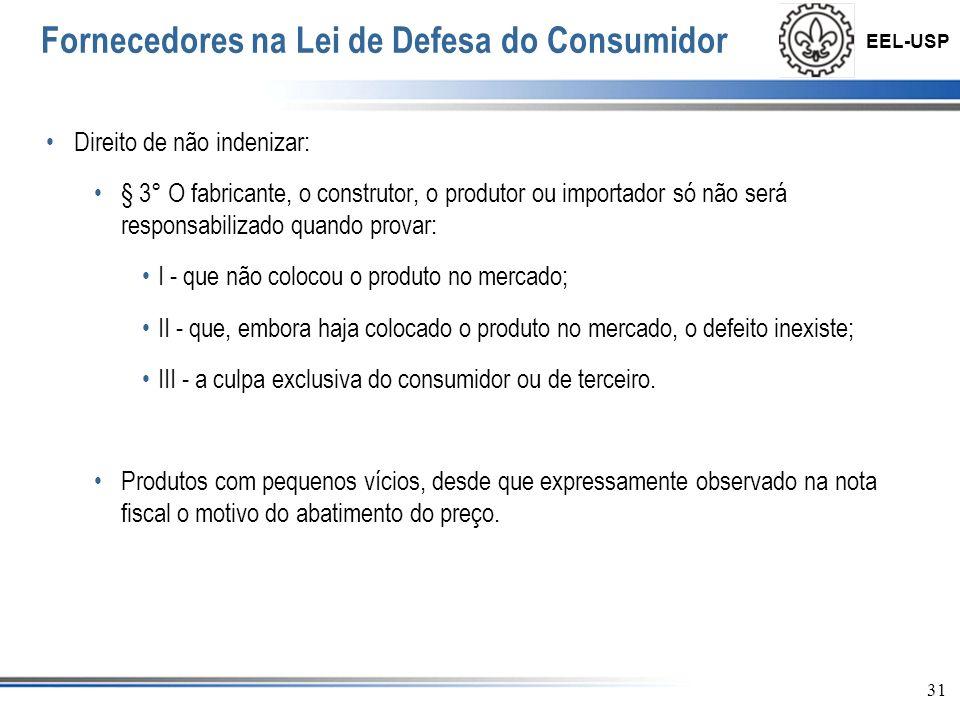 EEL-USP 32 Fornecedores na Lei de Defesa do Consumidor Prazos para conserto: Art.