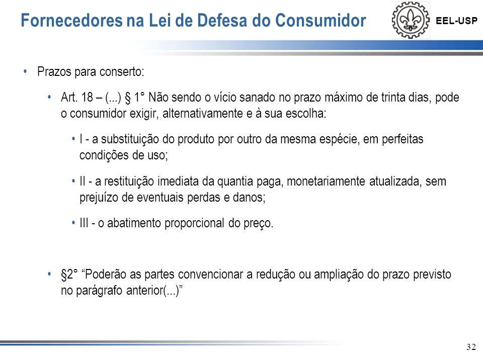 EEL-USP 33 Fornecedores na Lei de Defesa do Consumidor Direito de realizar o Recall Art.