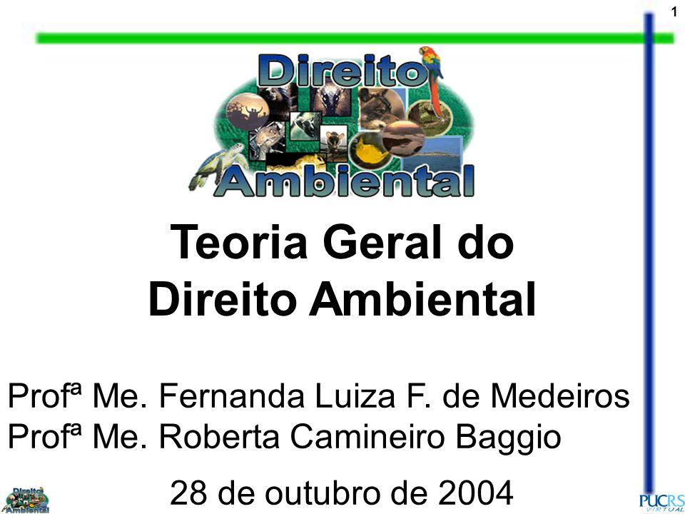 1 Teoria Geral do Direito Ambiental 28 de outubro de 2004 Profª Me. Fernanda Luiza F. de Medeiros Profª Me. Roberta Camineiro Baggio