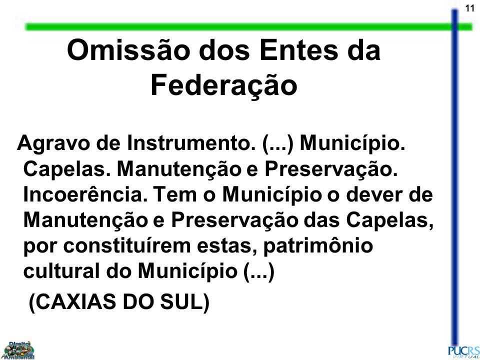 11 Omissão dos Entes da Federação Agravo de Instrumento. (...) Município. Capelas. Manutenção e Preservação. Incoerência. Tem o Município o dever de M