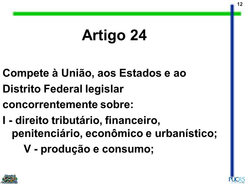 12 Compete à União, aos Estados e ao Distrito Federal legislar concorrentemente sobre: I - direito tributário, financeiro, penitenciário, econômico e