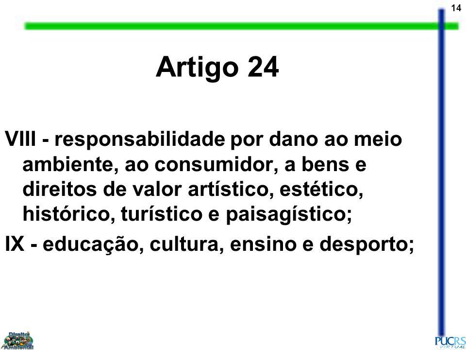 14 VIII - responsabilidade por dano ao meio ambiente, ao consumidor, a bens e direitos de valor artístico, estético, histórico, turístico e paisagísti