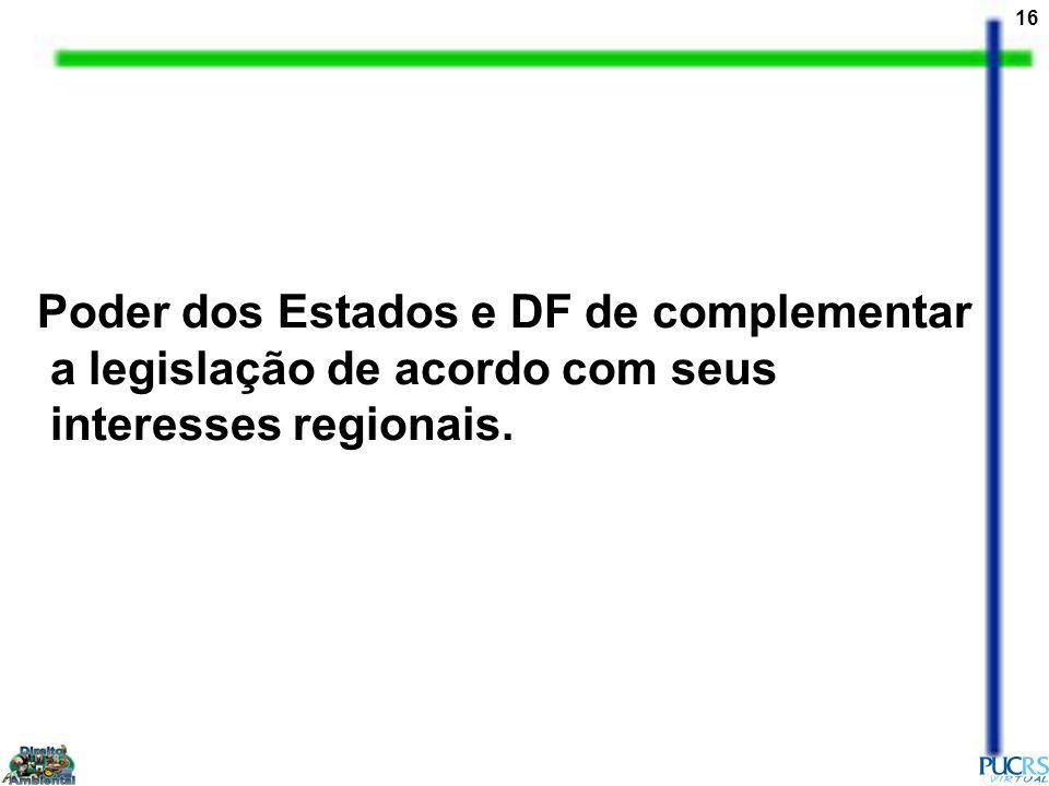 16 Poder dos Estados e DF de complementar a legislação de acordo com seus interesses regionais.