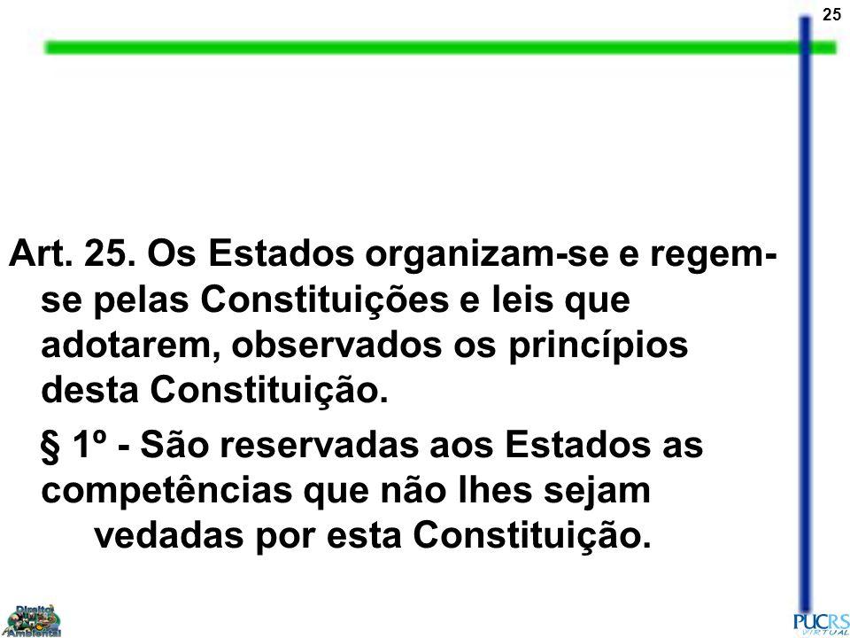 25 Art. 25. Os Estados organizam-se e regem- se pelas Constituições e leis que adotarem, observados os princípios desta Constituição. § 1º - São reser