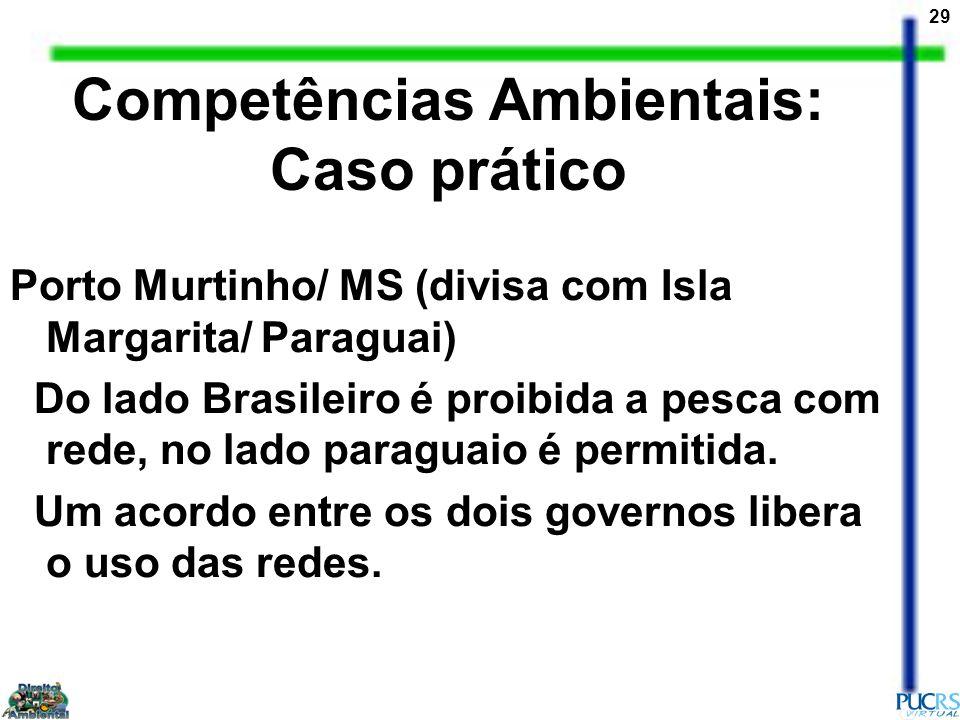 29 Competências Ambientais: Caso prático Porto Murtinho/ MS (divisa com Isla Margarita/ Paraguai) Do lado Brasileiro é proibida a pesca com rede, no l