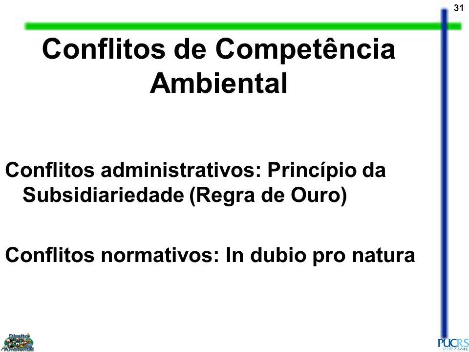 31 Conflitos de Competência Ambiental Conflitos administrativos: Princípio da Subsidiariedade (Regra de Ouro) Conflitos normativos: In dubio pro natur