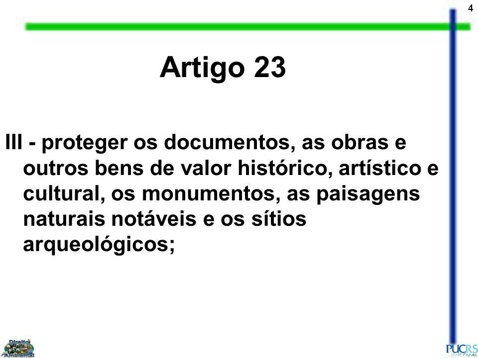 4 Artigo 23 III - proteger os documentos, as obras e outros bens de valor histórico, artístico e cultural, os monumentos, as paisagens naturais notáve
