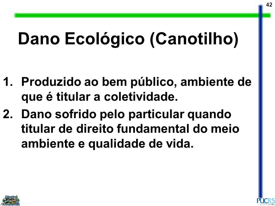 42 Dano Ecológico (Canotilho) 1.Produzido ao bem público, ambiente de que é titular a coletividade. 2.Dano sofrido pelo particular quando titular de d