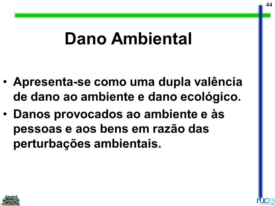 44 Dano Ambiental Apresenta-se como uma dupla valência de dano ao ambiente e dano ecológico. Danos provocados ao ambiente e às pessoas e aos bens em r