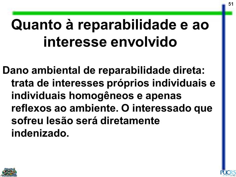51 Quanto à reparabilidade e ao interesse envolvido Dano ambiental de reparabilidade direta: trata de interesses próprios individuais e individuais ho