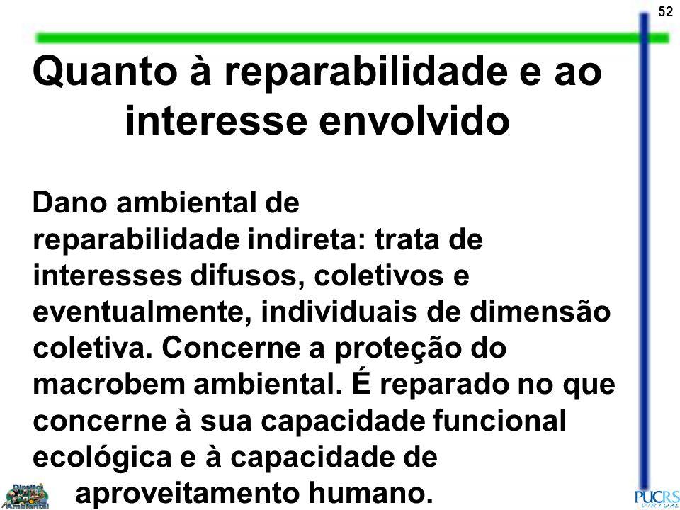 52 Quanto à reparabilidade e ao interesse envolvido Dano ambiental de reparabilidade indireta: trata de interesses difusos, coletivos e eventualmente,