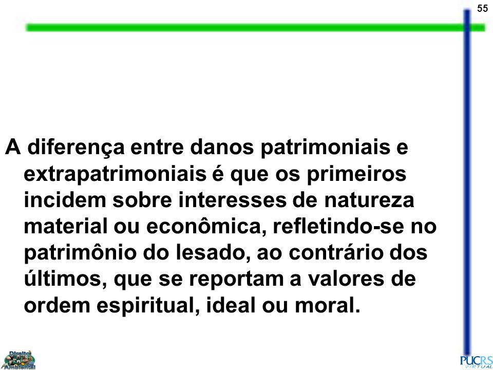 55 A diferença entre danos patrimoniais e extrapatrimoniais é que os primeiros incidem sobre interesses de natureza material ou econômica, refletindo-