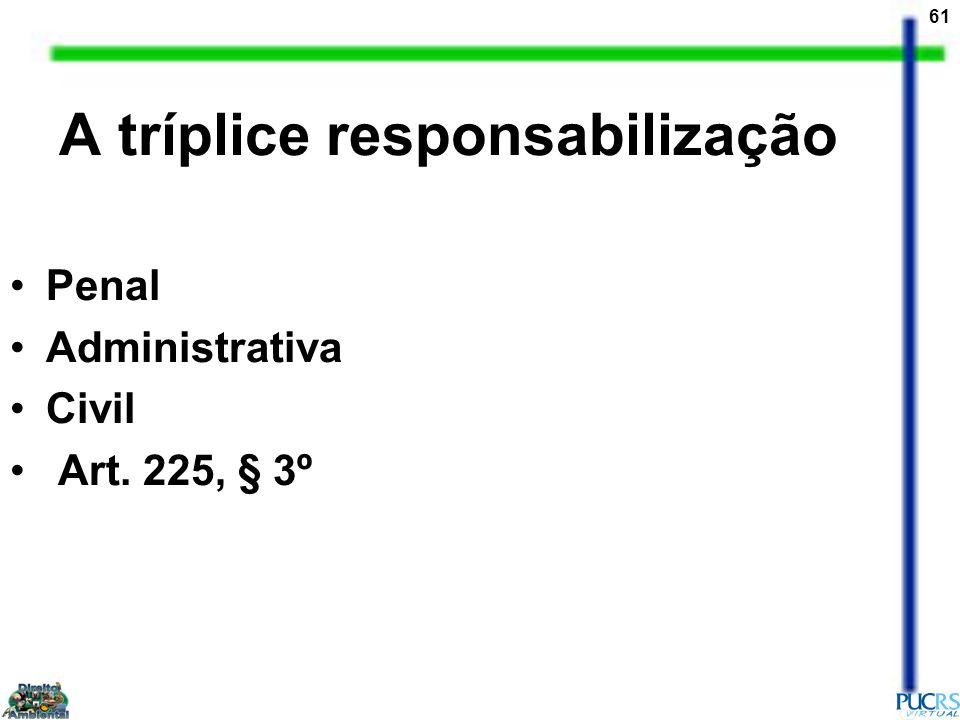 61 A tríplice responsabilização Penal Administrativa Civil Art. 225, § 3º