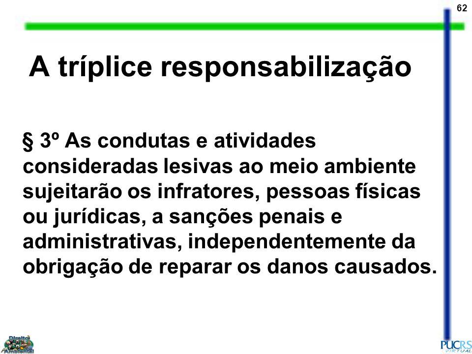 62 A tríplice responsabilização § 3º As condutas e atividades consideradas lesivas ao meio ambiente sujeitarão os infratores, pessoas físicas ou juríd