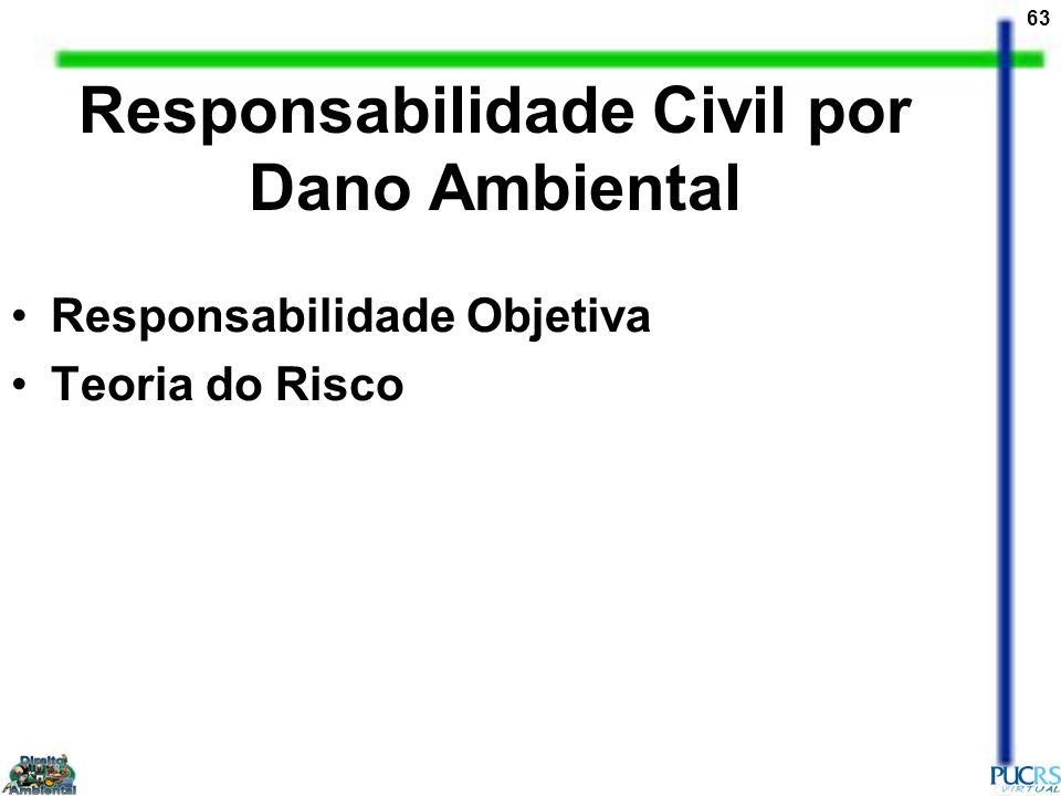 63 Responsabilidade Civil por Dano Ambiental Responsabilidade Objetiva Teoria do Risco