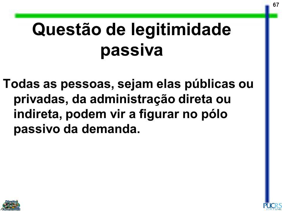 67 Questão de legitimidade passiva Todas as pessoas, sejam elas públicas ou privadas, da administração direta ou indireta, podem vir a figurar no pólo
