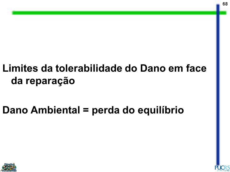 68 Limites da tolerabilidade do Dano em face da reparação Dano Ambiental = perda do equilíbrio