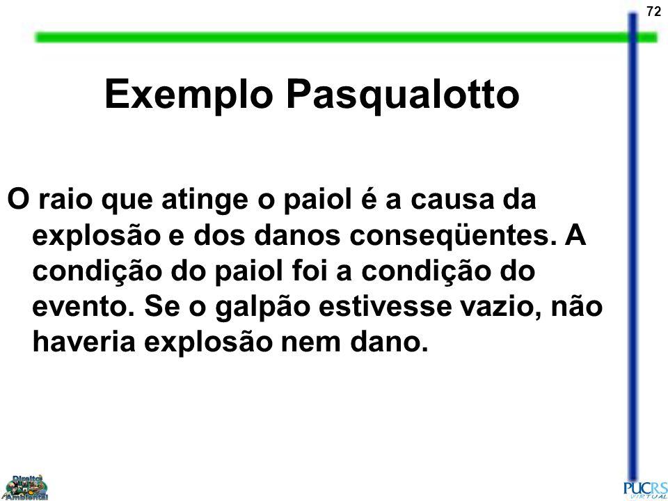 72 Exemplo Pasqualotto O raio que atinge o paiol é a causa da explosão e dos danos conseqüentes. A condição do paiol foi a condição do evento. Se o ga