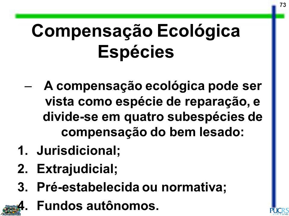 73 Compensação Ecológica Espécies –A compensação ecológica pode ser vista como espécie de reparação, e divide-se em quatro subespécies de compensação