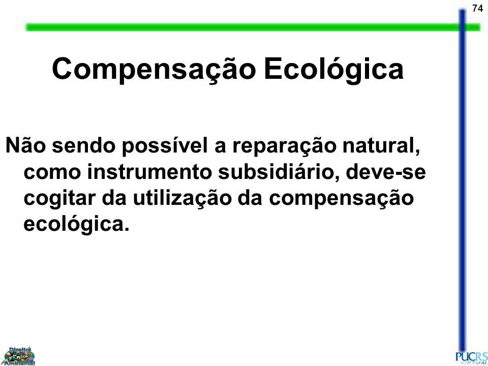 74 Compensação Ecológica Não sendo possível a reparação natural, como instrumento subsidiário, deve-se cogitar da utilização da compensação ecológica.