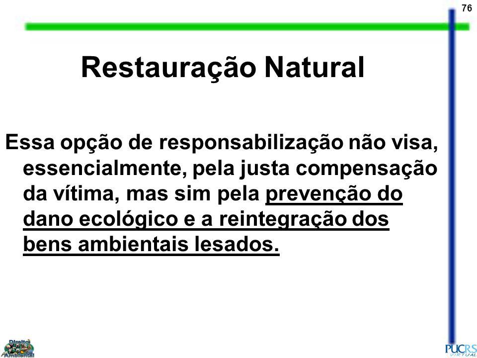 76 Restauração Natural Essa opção de responsabilização não visa, essencialmente, pela justa compensação da vítima, mas sim pela prevenção do dano ecol