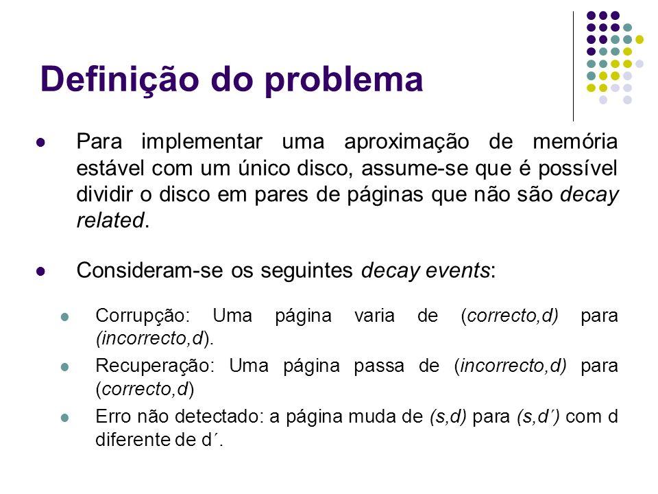 Definição do problema Para implementar uma aproximação de memória estável com um único disco, assume-se que é possível dividir o disco em pares de páginas que não são decay related.