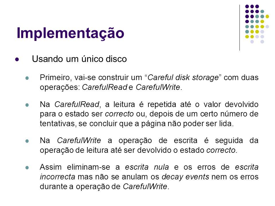Implementação Usando um único disco Primeiro, vai-se construir um Careful disk storage com duas operações: CarefulRead e CarefulWrite.