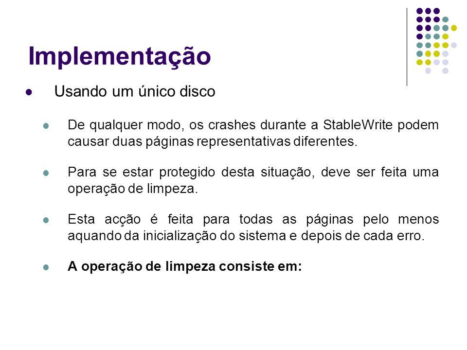 Implementação Usando um único disco De qualquer modo, os crashes durante a StableWrite podem causar duas páginas representativas diferentes.