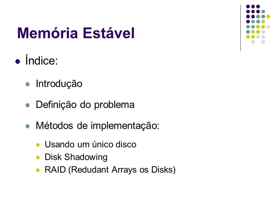 Memória Estável Índice: Introdução Definição do problema Métodos de implementação: Usando um único disco Disk Shadowing RAID (Redudant Arrays os Disks)