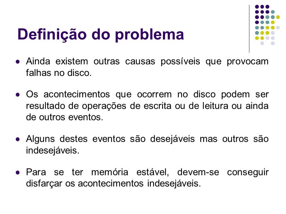 Definição do problema Ainda existem outras causas possíveis que provocam falhas no disco.