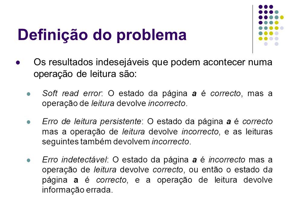 Definição do problema Os resultados indesejáveis que podem acontecer numa operação de leitura são: Soft read error: O estado da página a é correcto, mas a operação de leitura devolve incorrecto.