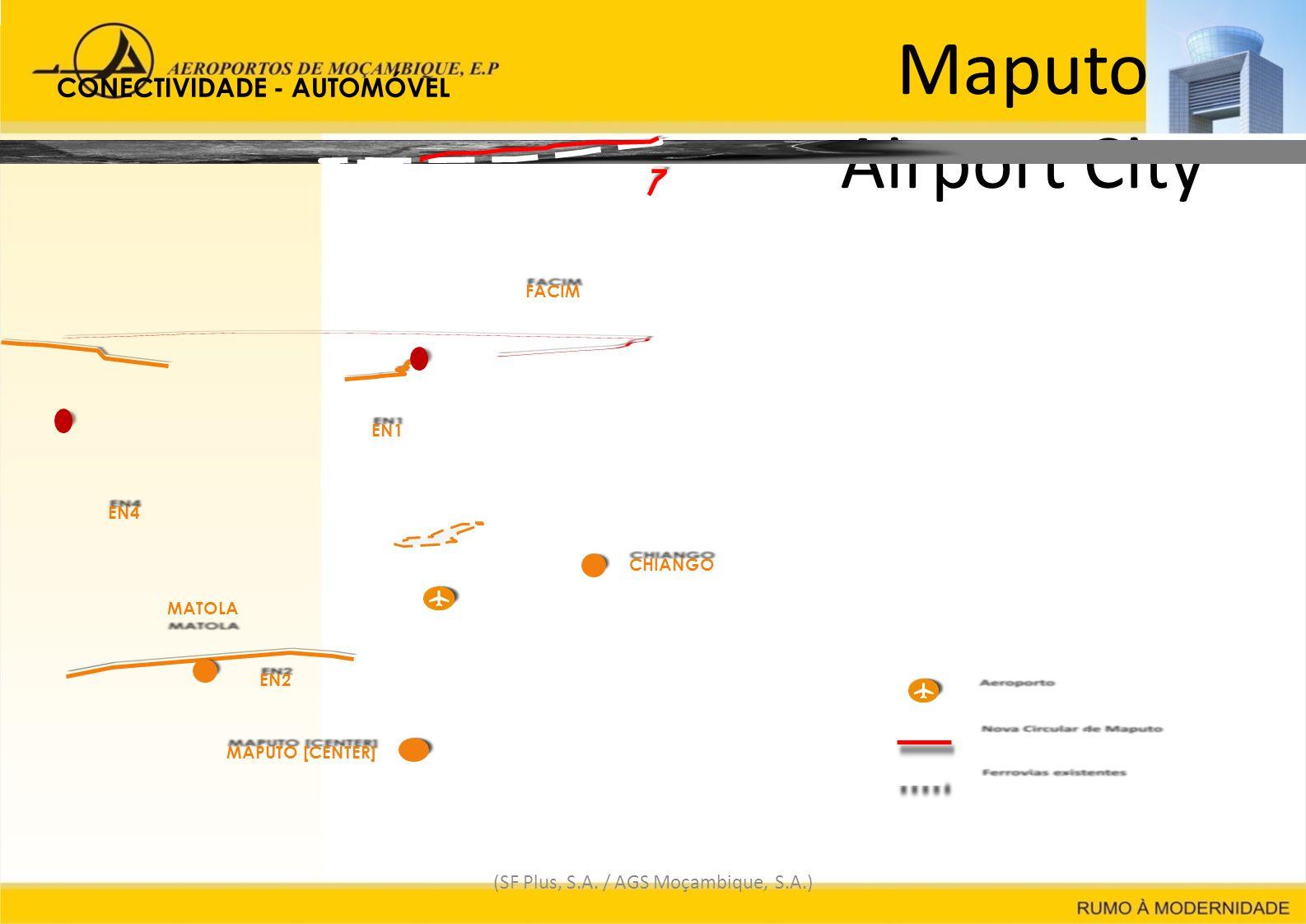 Maputo Airport City (SF Plus, S.A. / AGS Moçambique, S.A.) EN1EN1 Nova Circular de Maputo Ferrovias existentes AeroportoAeroporto MAPUTO [CENTER] EN4