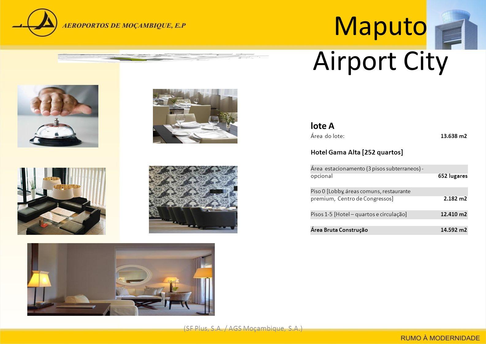 Maputo Airport City (SF Plus, S.A. / AGS Moçambique, S.A.) lote A Área do lote: 13.638 m2 Hotel Gama Alta [252 quartos] Área estacionamento (3 pisos s