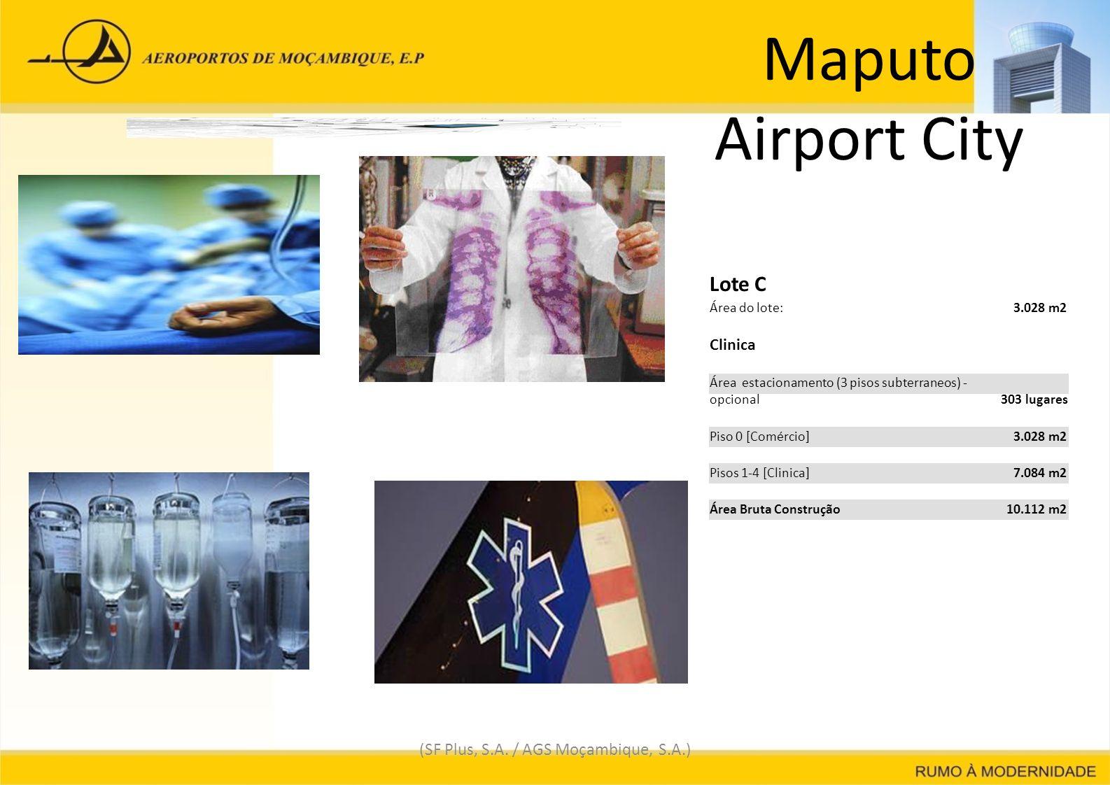 Maputo Airport City (SF Plus, S.A. / AGS Moçambique, S.A.) Lote C Área do lote: 3.028 m23.028 m2 Clinica Área estacionamento (3 pisos subterraneos) -