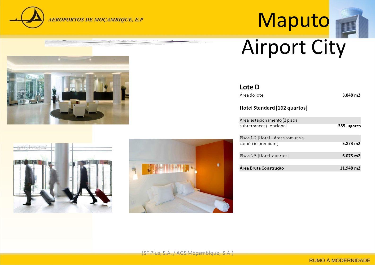 Maputo Airport City (SF Plus, S.A. / AGS Moçambique, S.A.) Lote D Área do lote: 3.848 m23.848 m2 Hotel Standard [162 quartos] Área estacionamento (3 p