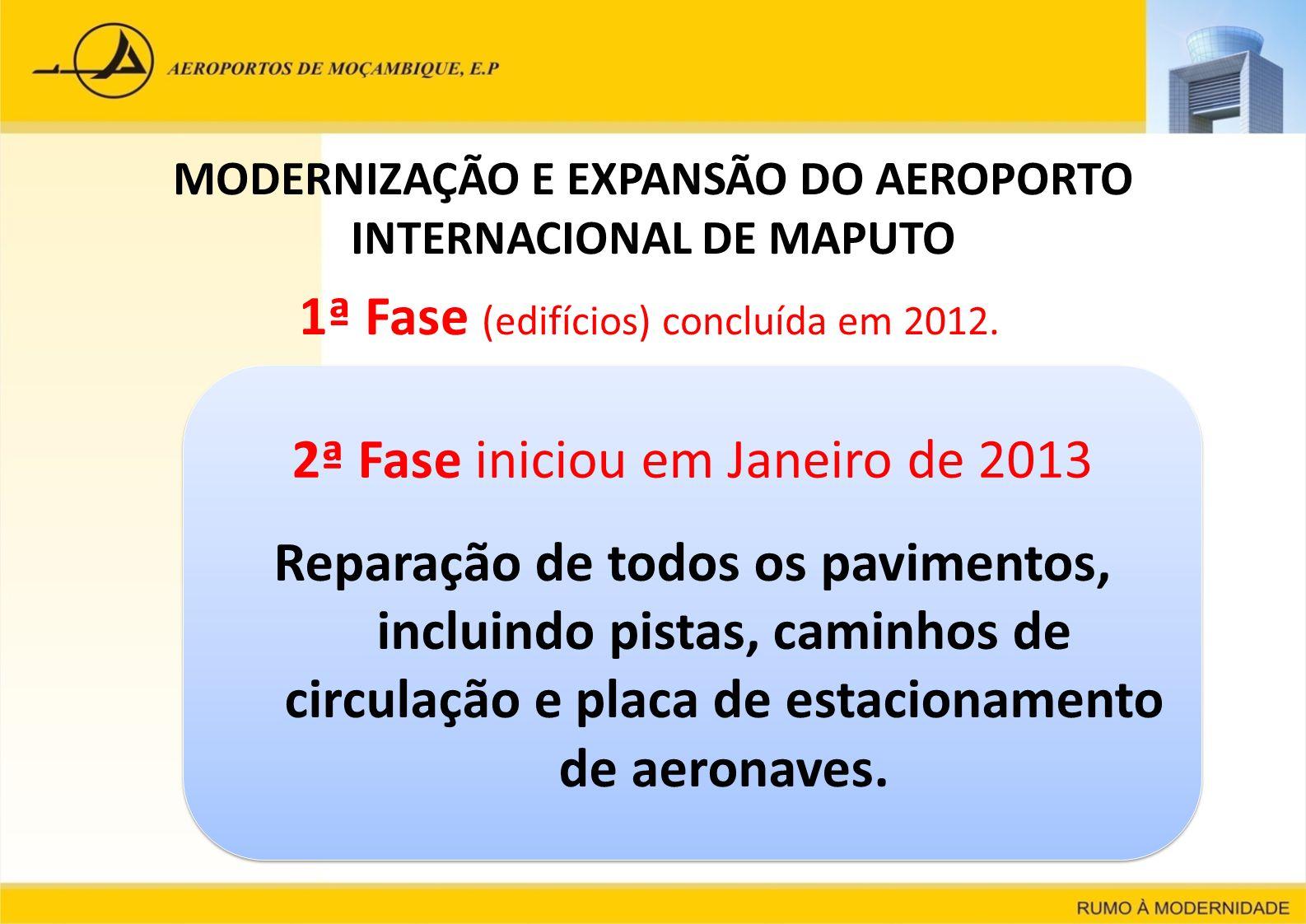 MODERNIZAÇÃO E EXPANSÃO DO AEROPORTO INTERNACIONAL DE MAPUTO 1ª Fase (edifícios) concluída em 2012. 2ª Fase iniciou em Janeiro de 2013 Reparação de to