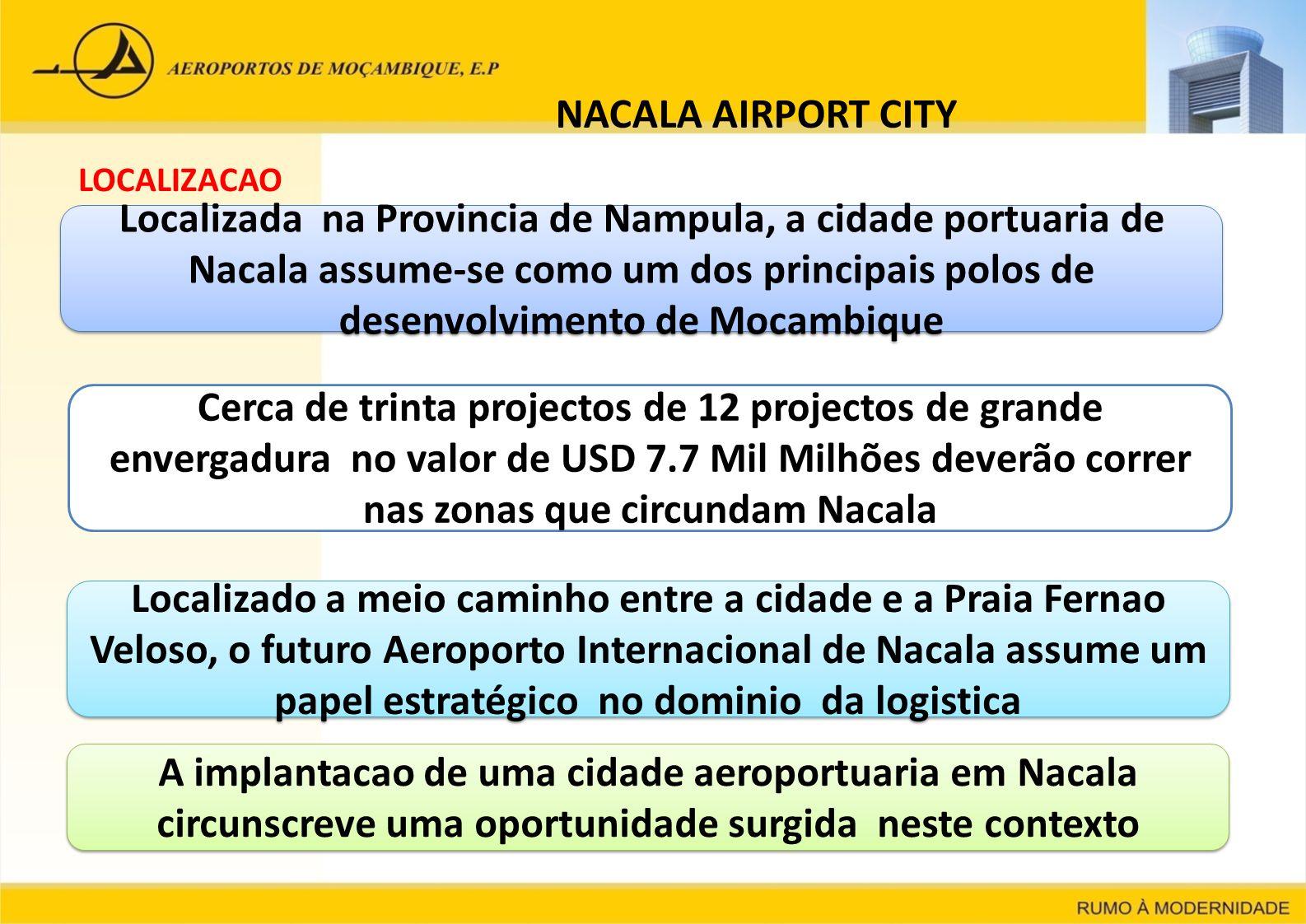 NACALA AIRPORT CITY LOCALIZACAO Localizada na Provincia de Nampula, a cidade portuaria de Nacala assume-se como um dos principais polos de desenvolvim