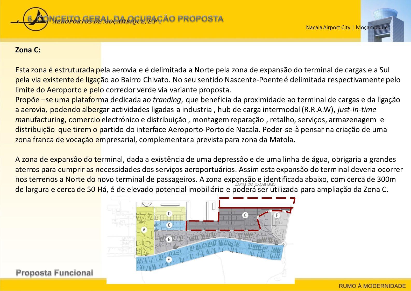 Nacala Airport City   Moçambique Zona de expansão Zona C: Esta zona é estruturada pela aerovia e é delimitada a Norte pela zona de expansão do termina