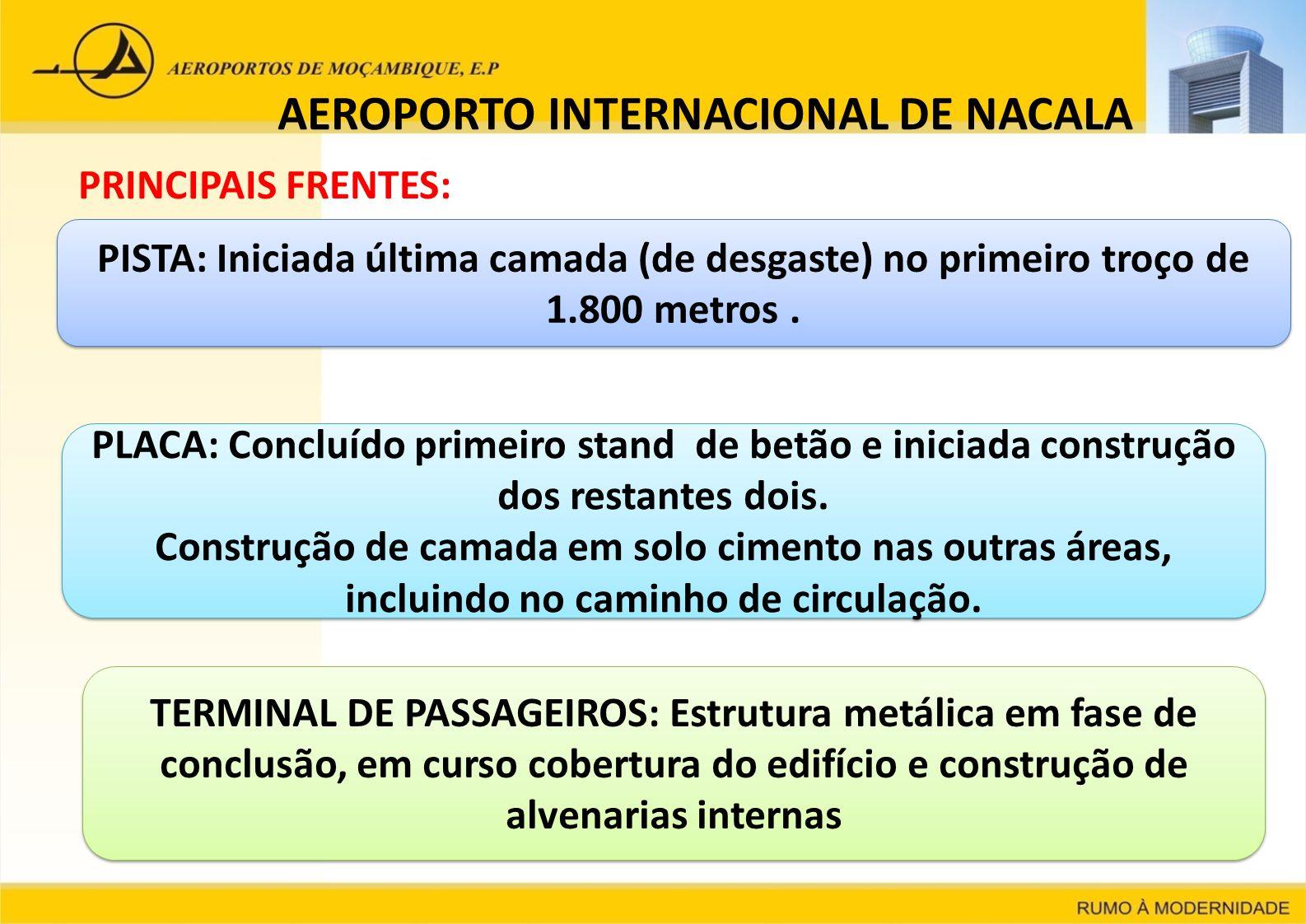AEROPORTO INTERNACIONAL DE NACALA PRINCIPAIS FRENTES: PISTA: Iniciada última camada (de desgaste) no primeiro troço de 1.800 metros. PLACA: Concluído