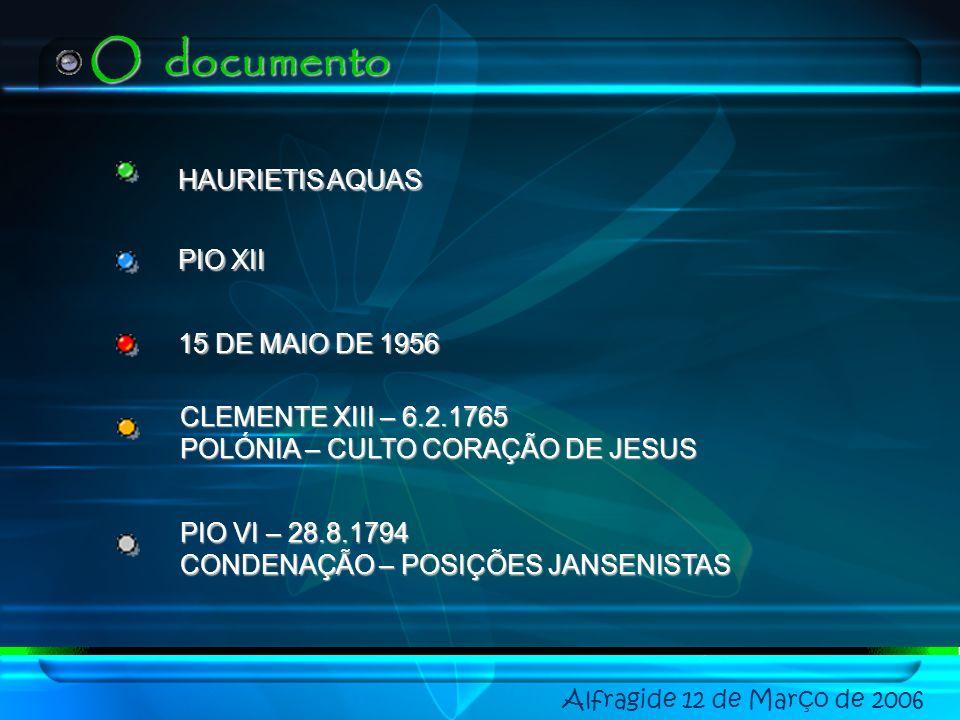 O documento HAURIETIS AQUAS PIO XII 15 DE MAIO DE 1956 CLEMENTE XIII – 6.2.1765 POLÓNIA – CULTO CORAÇÃO DE JESUS PIO VI – 28.8.1794 CONDENAÇÃO – POSIÇÕES JANSENISTAS
