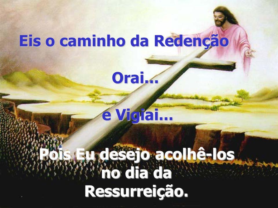 Eis o caminho da Redenção Orai... e Vigiai... Pois Eu desejo acolhê-los no dia da Ressurreição.