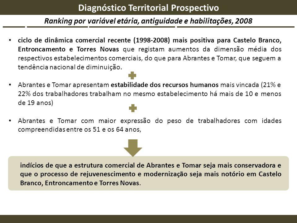 Ranking por variável etária, antiguidade e habilitações, 2008 Diagnóstico Territorial Prospectivo ciclo de dinâmica comercial recente (1998-2008) mais