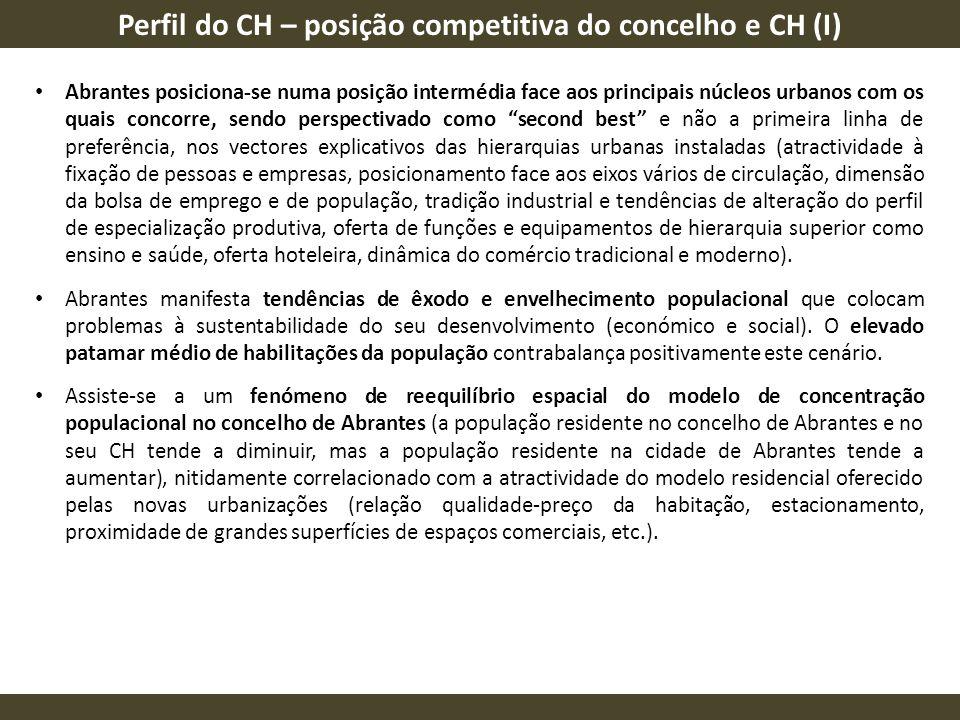 Perfil do CH – posição competitiva do concelho e CH (I) Abrantes posiciona-se numa posição intermédia face aos principais núcleos urbanos com os quais