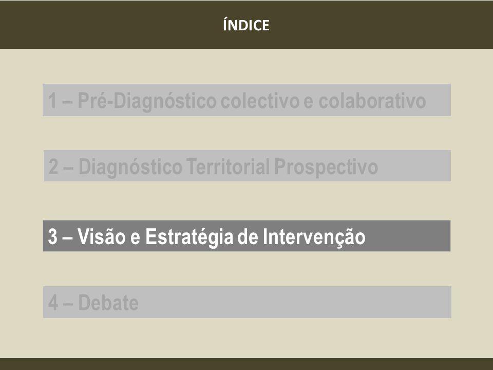 ÍNDICE 1 – Pré-Diagnóstico colectivo e colaborativo 2 – Diagnóstico Territorial Prospectivo 3 – Visão e Estratégia de Intervenção 4 – Debate
