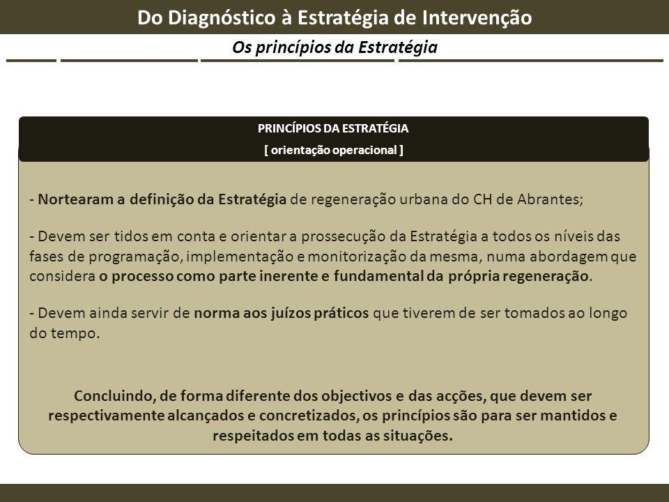 Os princípios da Estratégia Do Diagnóstico à Estratégia de Intervenção - Nortearam a definição da Estratégia de regeneração urbana do CH de Abrantes;