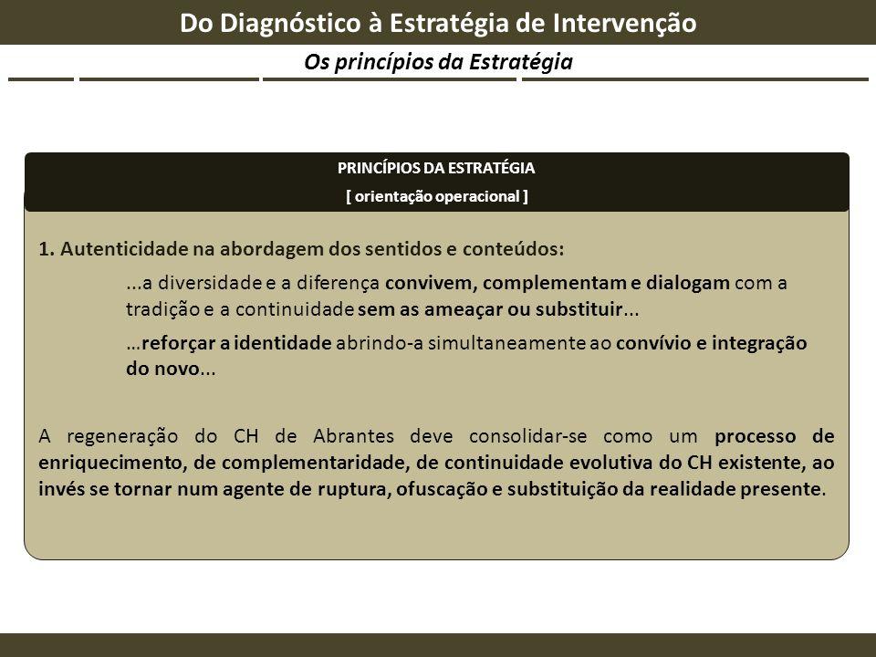 Os princípios da Estratégia Do Diagnóstico à Estratégia de Intervenção 1. Autenticidade na abordagem dos sentidos e conteúdos:...a diversidade e a dif