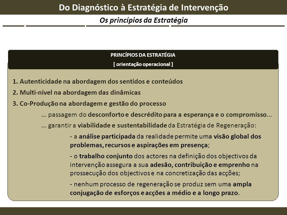 Os princípios da Estratégia Do Diagnóstico à Estratégia de Intervenção 1. Autenticidade na abordagem dos sentidos e conteúdos 2. Multi-nível na aborda