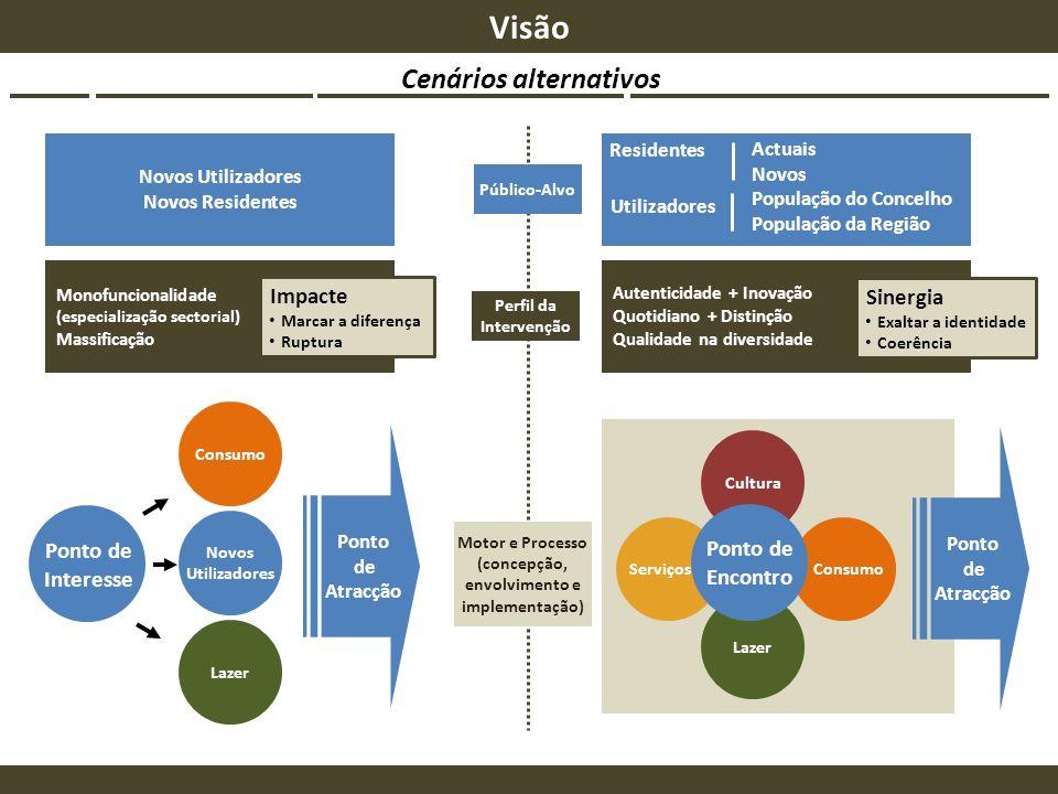 Cenários alternativos Visão Novos Utilizadores Novos Residentes Monofuncionalidade (especialização sectorial) Massificação Consumo Novos Utilizadores