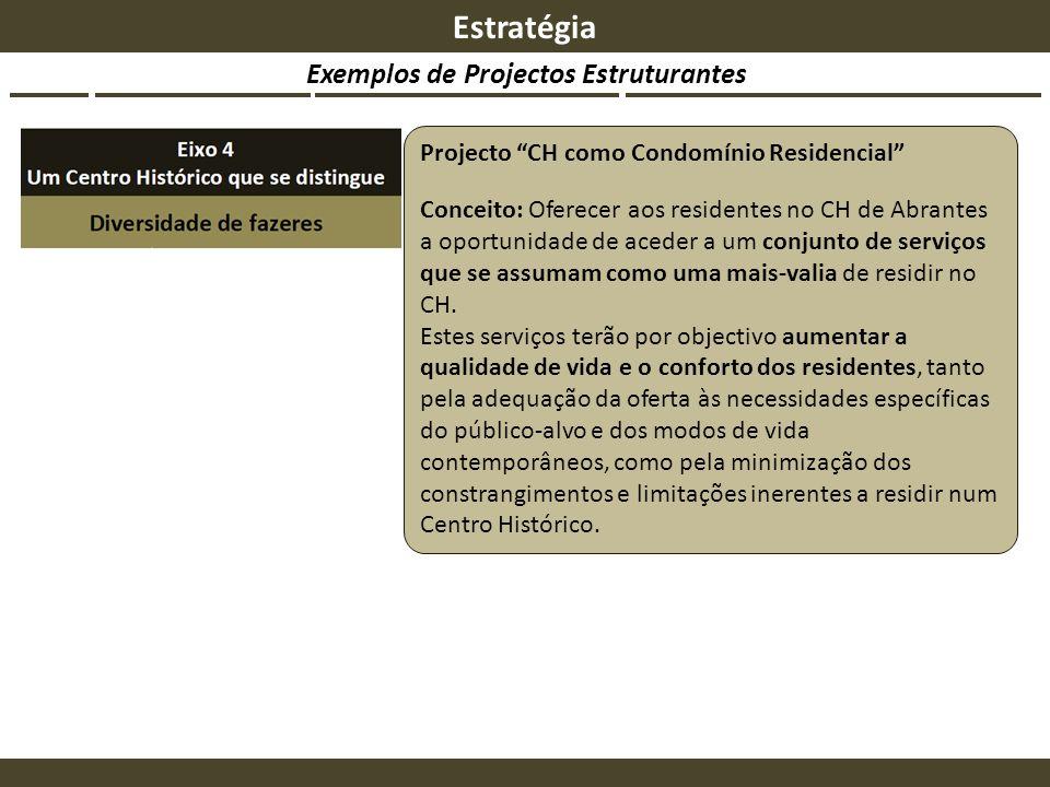 Exemplos de Projectos Estruturantes Estratégia Projecto CH como Condomínio Residencial Conceito: Oferecer aos residentes no CH de Abrantes a oportunid