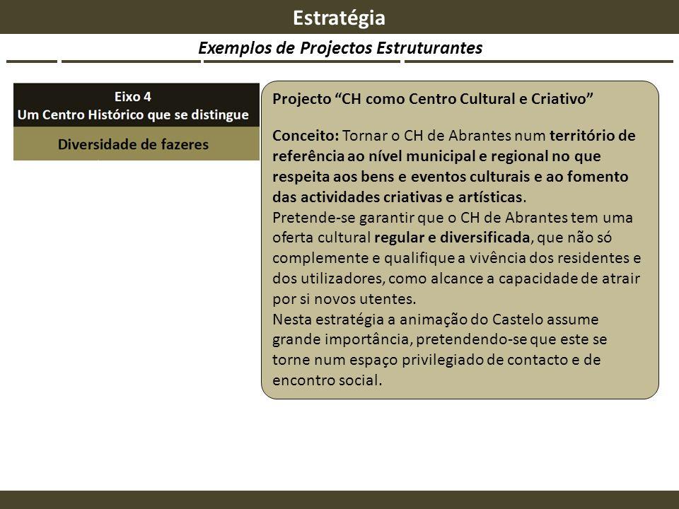 Exemplos de Projectos Estruturantes Estratégia Projecto CH como Centro Cultural e Criativo Conceito: Tornar o CH de Abrantes num território de referên